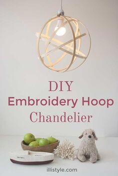 diy embroidery hoop chandelier, diy, lighting