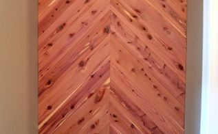 cedar planked herrinbone bathroom wall, bathroom ideas, diy, small bathroom ideas, wall decor, woodworking projects