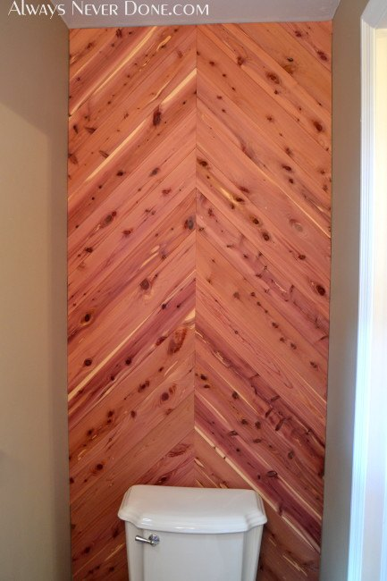 Cedar Planked Herrinbone Bathroom Wall Hometalk