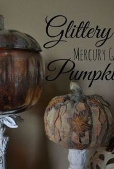 diy gold glitter mercury glass pumpkin, crafts, halloween decorations, home decor, how to