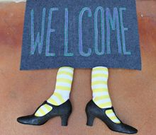 make a witch welcome mat for your front door, crafts, halloween decorations, seasonal holiday decor