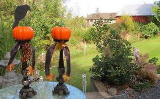 fun halloween fal candlestick decor, crafts, halloween decorations, seasonal holiday decor