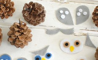 pine cone owls, crafts, seasonal holiday decor
