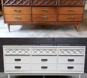 Mid Century Modern Dresser Redo, Painted Furniture