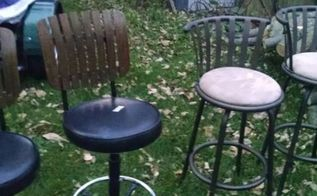 q ideas to update bar stools, painted furniture, repurposing upcycling, How to update bar stools Would like black frame one on right should be easy but not sure what to do with one on left