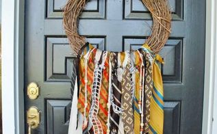 vintage necktie fall wreath, crafts, repurposing upcycling, seasonal holiday decor, thanksgiving decorations, wreaths