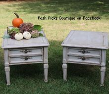 tag sale end tables refinished in gray milk paint 30dayflip, painted furniture