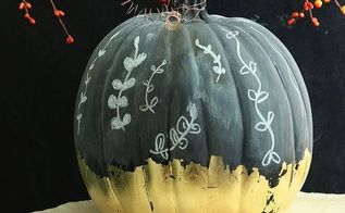 gilded chalkboard pumpkin, chalkboard paint, crafts, seasonal holiday decor