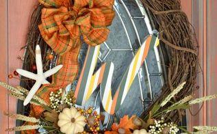 easy fall coastal wreath, crafts, seasonal holiday decor, wreaths