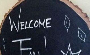 diy welcome fall chalkboard sign, chalkboard paint, crafts, seasonal holiday decor