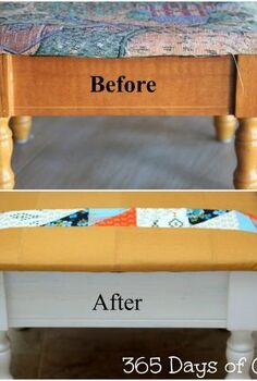 sewing stool update with easy to reupholster top, painted furniture, reupholster, Sewing Stool Before and afterSewign