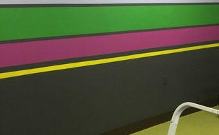 design studio office makeover with striped walls, home decor, home office, paint colors, painting, wall decor