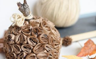 diy brown paper pumpkin, crafts, seasonal holiday decor