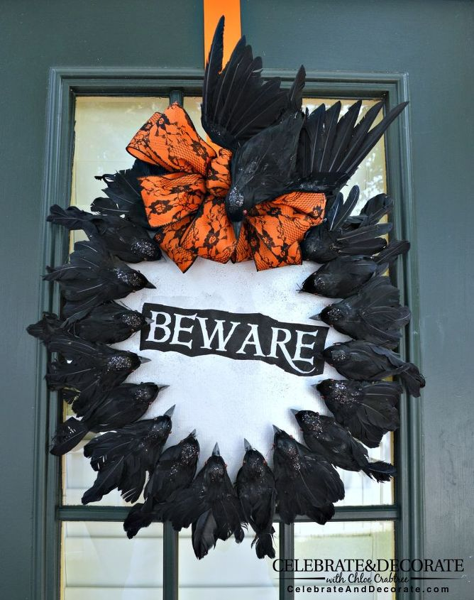 create a halloween wreath with creepy crows crafts halloween decorations seasonal holiday decor