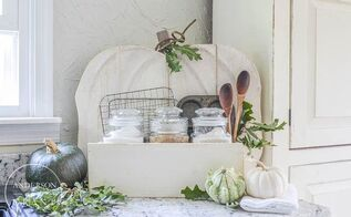 rustic pumpkin stand becomes baking center for kitchen, crafts, diy, seasonal holiday decor, woodworking projects