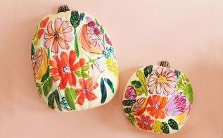floral painted pumpkins, crafts, seasonal holiday decor