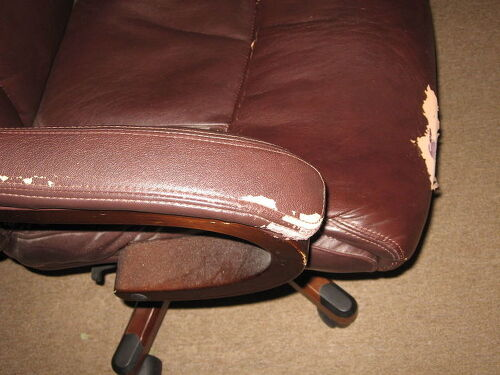 Desk chair arm wear and front edge of seatTwo chairs failing Is there a  paint on  fix for leather or faux  . Electric Chair Repairs Gold Coast. Home Design Ideas