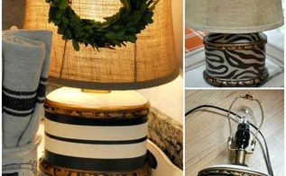french grain sack stripe inspired lamp makeover, crafts, lighting, repurposing upcycling
