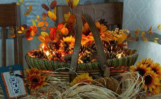 autumn fireside basket, crafts, seasonal holiday decor