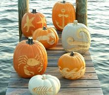 creative coastal beach nautical pumpkins carved jack o lanterns, crafts, seasonal holiday decor, Carved Pumpkins inspired by the Sea