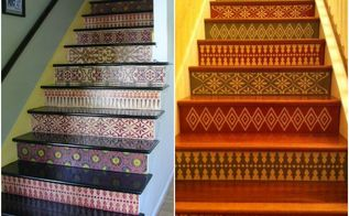 the hottest home decor trend stenciled stairs, home decor, painting, stairs