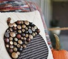 mismatched button acorn sweater pillow, crafts, seasonal holiday decor