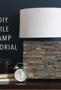 modern tile lamp diy, diy, lighting, woodworking projects
