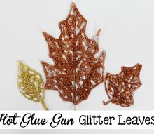 hot glue glitter leaves, crafts, halloween decorations, seasonal holiday decor