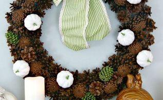 white pumpkin pinecone wreath, crafts, seasonal holiday decor, wreaths