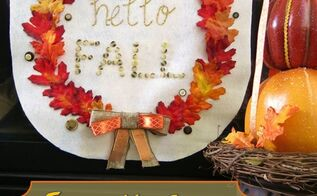 how to make a no sew fall banner for your home, crafts, fireplaces mantels, home decor, how to, seasonal holiday decor
