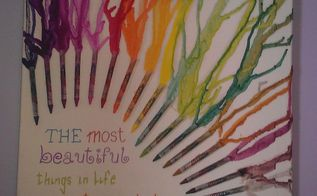 canvas with melted crayons, crafts