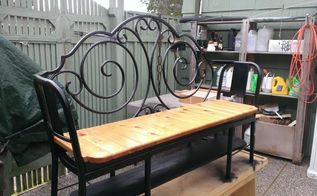 repurposing a metal head board and 2 metal chairs, diy, outdoor furniture, painted furniture, repurposing upcycling, woodworking projects