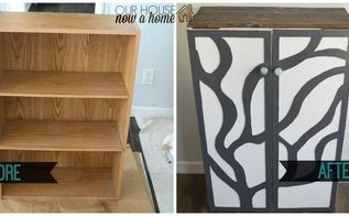 furniture refresh turning a bookshelf into a cabinet, painted furniture, repurposing upcycling