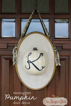 monogrammed pumpkin door hanging, crafts, seasonal holiday decor