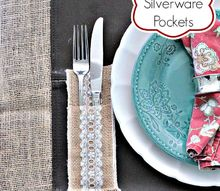 burlap and lace silverware pockets, crafts