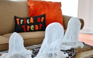 the easiest cheesecloth ghosts, crafts, halloween decorations, seasonal holiday decor
