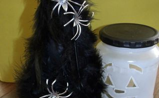 black feather tree w silver spiders, crafts, halloween decorations