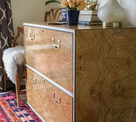 Restored Mid Century Burlwood Cabinet With A Modern Touch, Painted Furniture