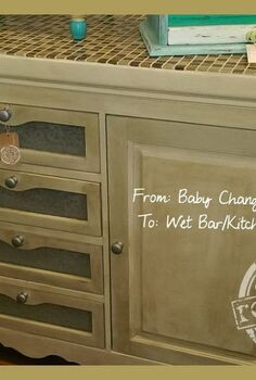 baby changing table turned kitchen island or bar, painted furniture, repurposing upcycling