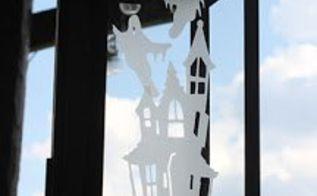 etched glass halloween lantern, halloween decorations, seasonal holiday decor