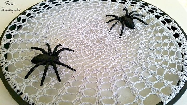 halloween spiderweb project from grandma s attic crafts halloween decorations repurposing upcycling - Halloween Decorations Spider Web