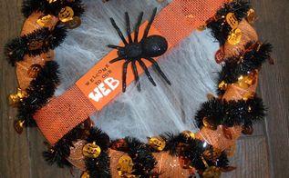 spooky spiderweb halloween wreath, crafts, halloween decorations, seasonal holiday decor, wreaths