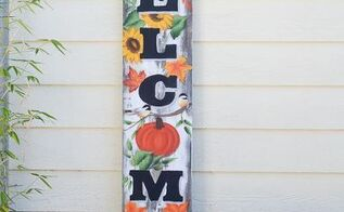 paint huge fall welcome porch sign, crafts, porches, seasonal holiday decor