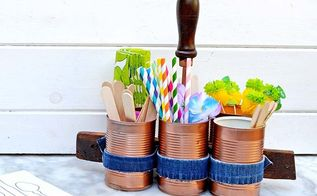 upcylce tin cans and old jeans into a handy caddy, crafts, repurposing upcycling, Used as a picnic caddy