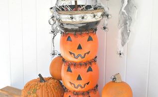stacked jack o lantern candy bowl topiary, crafts, repurposing upcycling, seasonal holiday decor