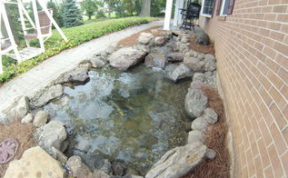 front yard pond install, landscape, ponds water features