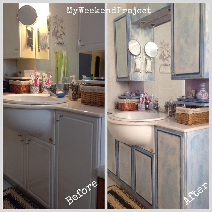bathroom cabinets makeover with chalk paint, bathroom ideas, chalk paint,  painting, Before - Bathroom Cabinets Makeover With Chalk Paint! Hometalk