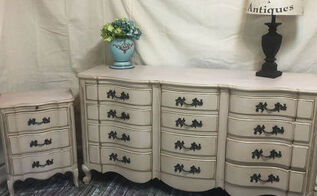 french serpentine dresser makeover, painted furniture