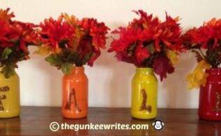 make fall glass jar vases, crafts, mason jars, repurposing upcycling, seasonal holiday decor, Colorful Fall Jar Vases