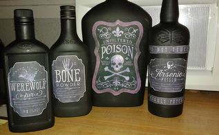poison bottles, halloween decorations, seasonal holiday decor